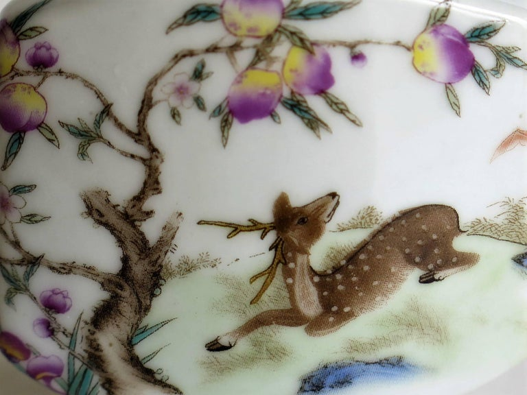 Chinese Porcelain Snuff Bottle Hand Painted Deer Famille Rose, circa 1940s For Sale 2