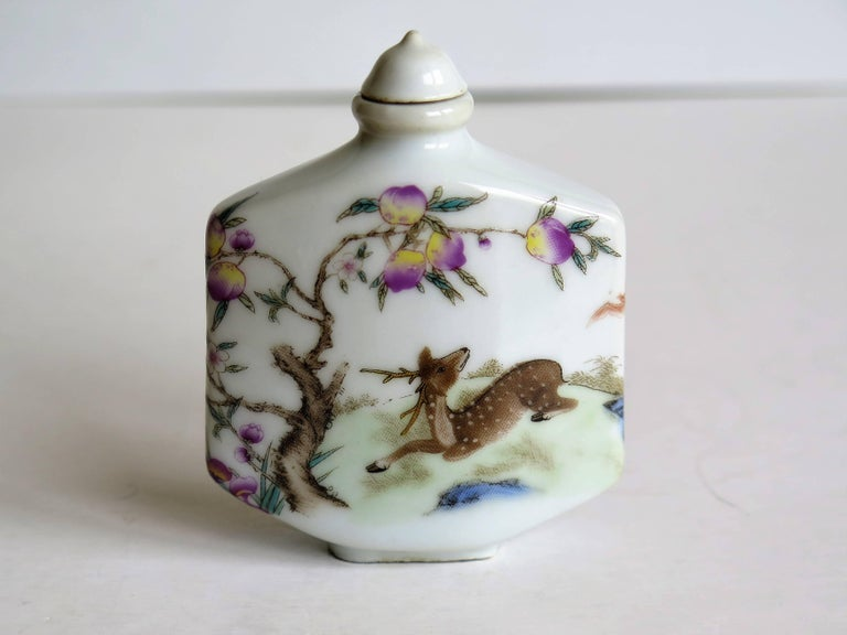 Qing Chinese Porcelain Snuff Bottle Hand Painted Deer Famille Rose, circa 1940s For Sale