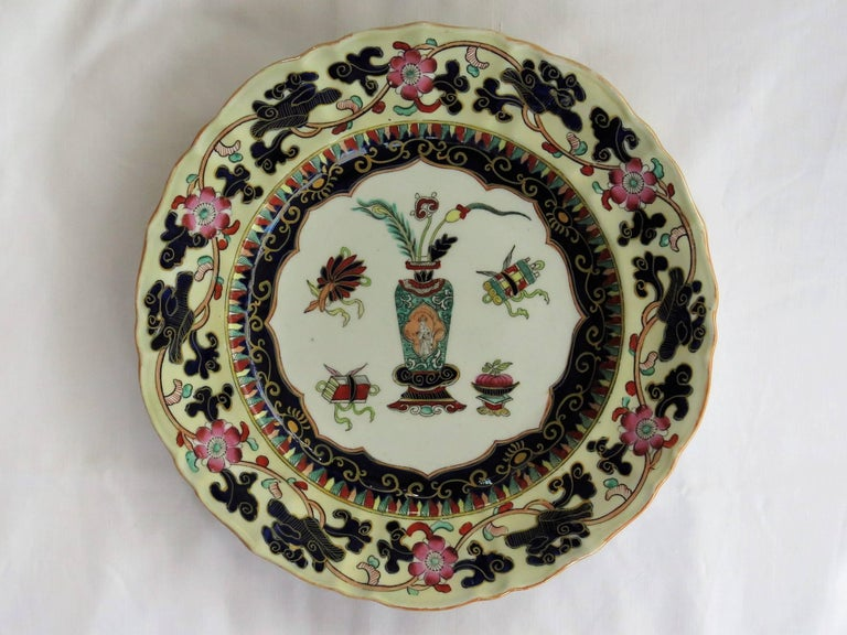 six mason 39 s ironstone large dinner plates harlequin set mid 19th century for sale at 1stdibs. Black Bedroom Furniture Sets. Home Design Ideas