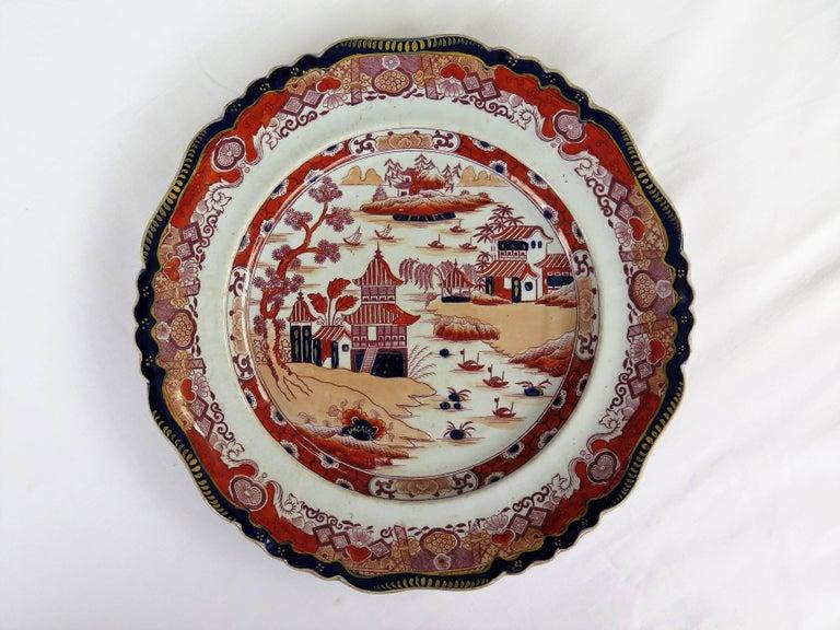 English Six Mason's Ashworth's Ironstone Large Dinner Plates Chinoiserie, circa 1865 For Sale