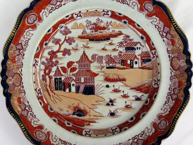 Hand-Painted Six Mason's Ashworth's Ironstone Large Dinner Plates Chinoiserie, circa 1865 For Sale