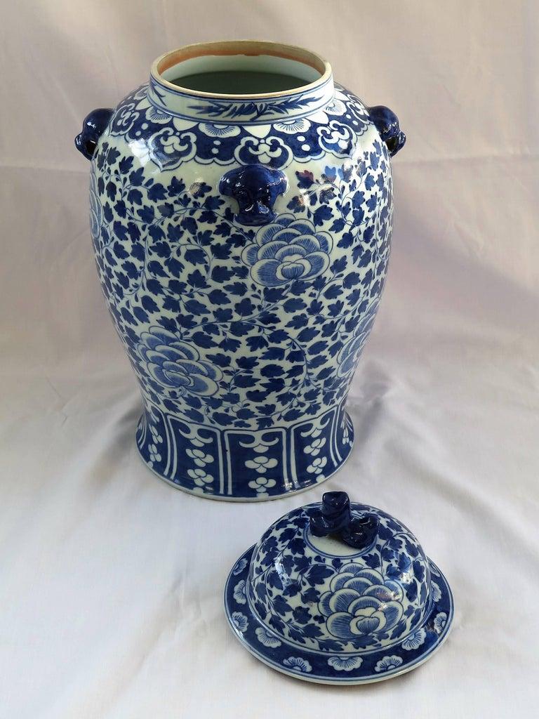 Chinese Porcelain Large Lidded Vase Or Jar Blue And White Foo Dog Handles Qing For Sale At 1stdibs