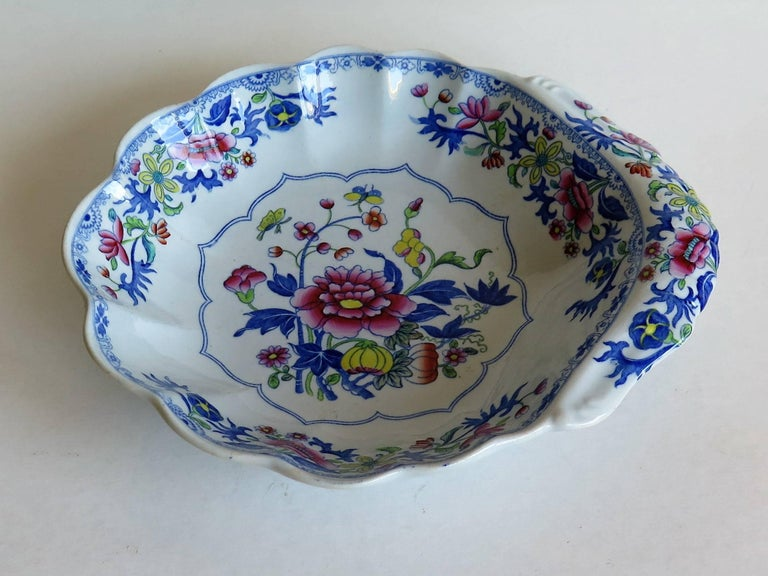 Chinoiserie Georgian Spode Ironstone Shell Dish or Plate Bang Up Pattern No. 2886, Ca 1820 For Sale