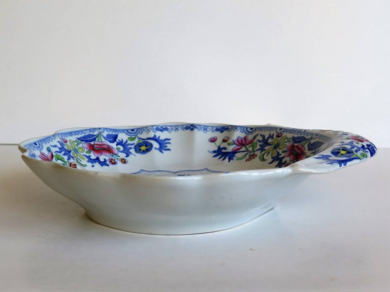 19th Century Georgian Spode Ironstone Shell Dish or Plate Bang Up Pattern No. 2886, Ca 1820 For Sale