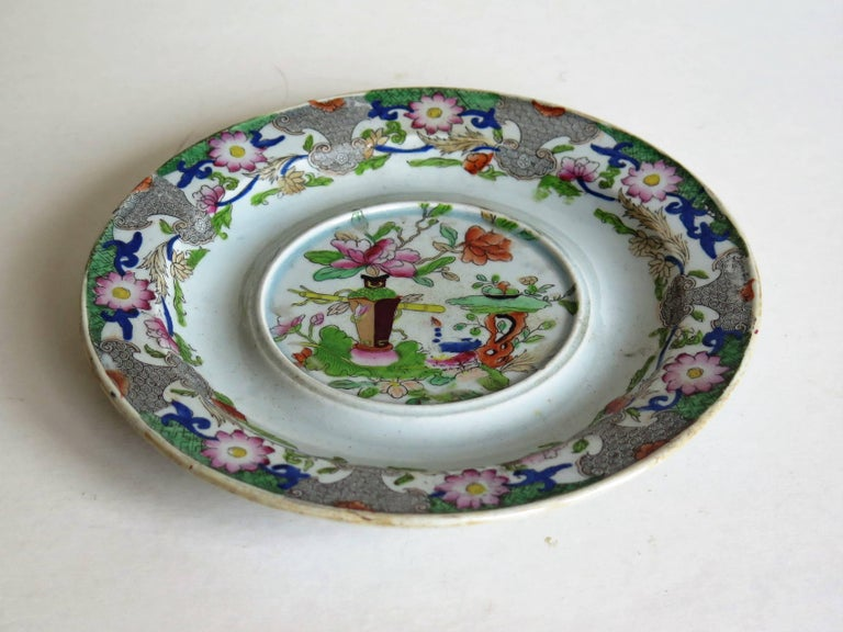English Early Mason's Ironstone Teapot Stand Table and Flower Pot Pattern, circa 1815 For Sale