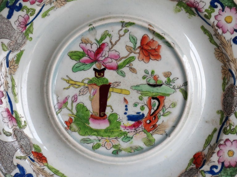 Early Mason's Ironstone Teapot Stand Table and Flower Pot Pattern, circa 1815 For Sale 1
