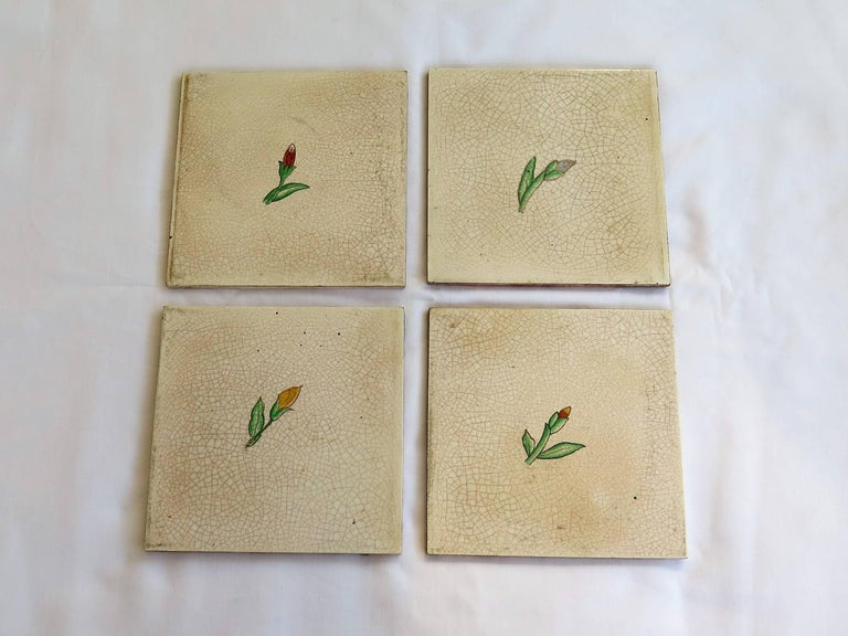 These are a very decorative set of four ceramic wall tiles, dating to the Art Deco period, Circa 1925 and made by Actiengesellschaft Wessel-Werk A.G. , Germany who used the BONNA mark between 1920 and 1930.  Each tile is nominally 6 inches square by