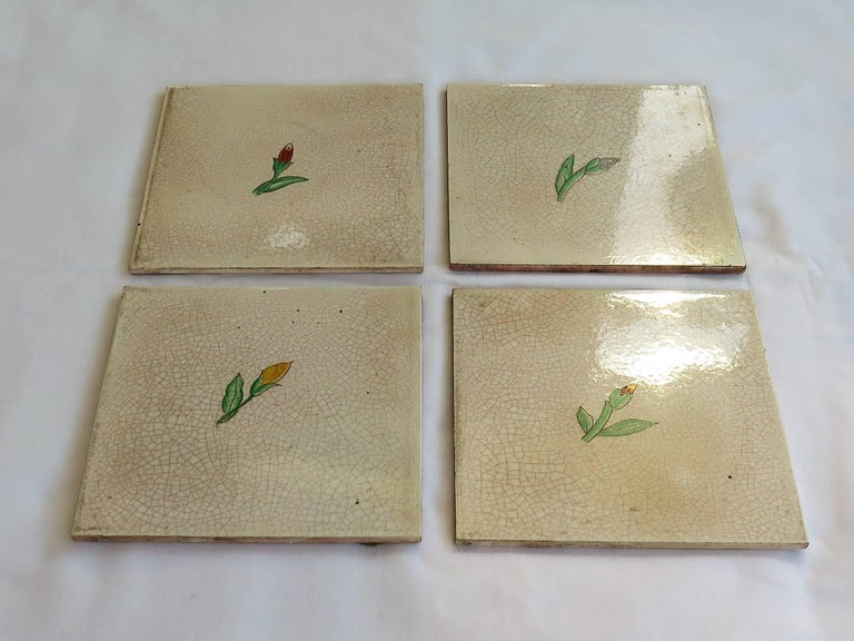 Hand-Painted Four Art Deco Ceramic Wall Tiles Hand Painted Polychrome, German 1920s For Sale