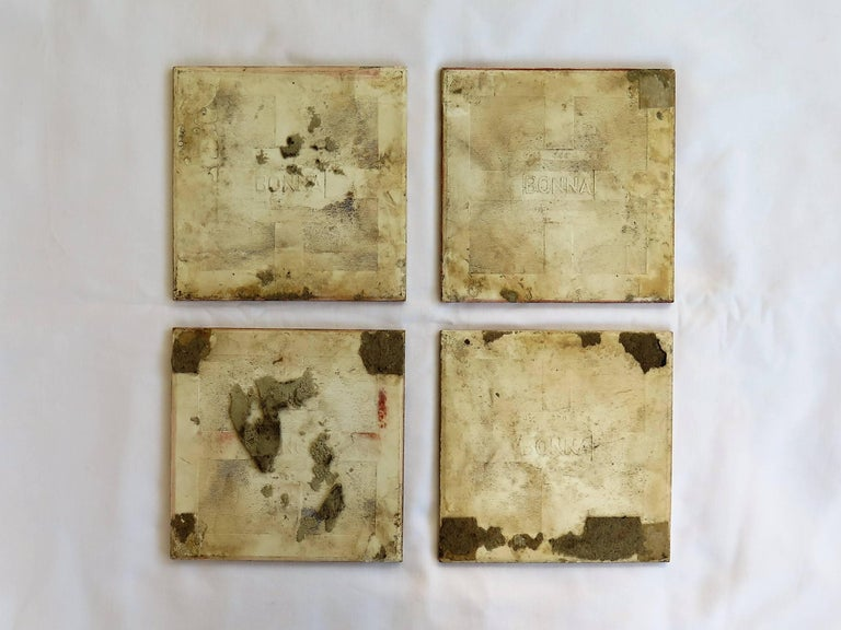Four Art Deco Ceramic Wall Tiles Hand Painted Polychrome, German 1920s For Sale 5