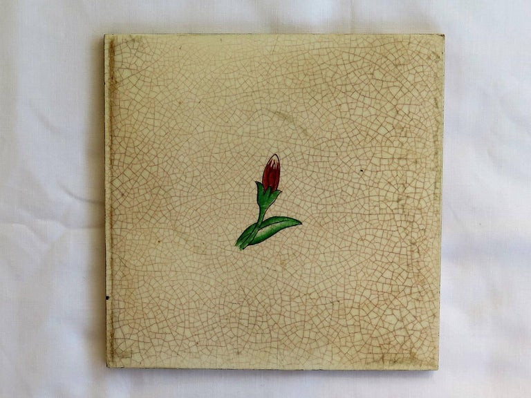 Four Art Deco Ceramic Wall Tiles Hand Painted Polychrome, German 1920s In Good Condition For Sale In Lincoln, Lincolnshire