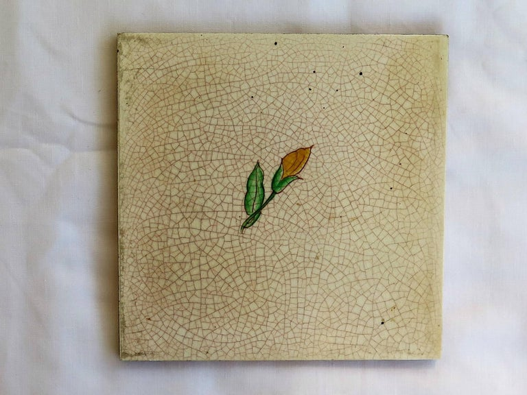 Four Art Deco Ceramic Wall Tiles Hand Painted Polychrome, German 1920s For Sale 1