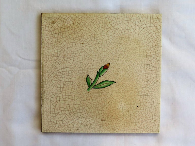 Four Art Deco Ceramic Wall Tiles Hand Painted Polychrome, German 1920s For Sale 2