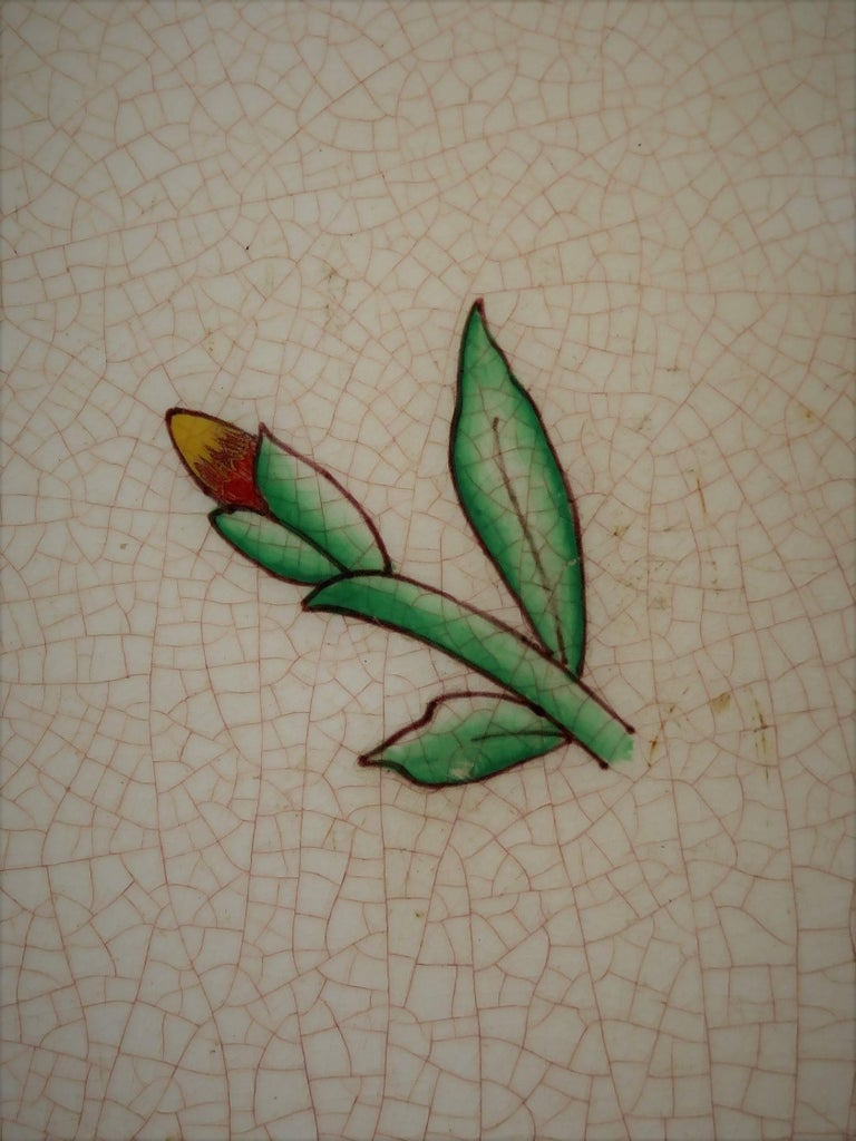 Four Art Deco Ceramic Wall Tiles Hand Painted Polychrome, German 1920s For Sale 3