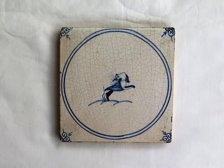 Dutch Three 18th Century Delft Blue and White Ceramic Wall Tiles, Dog Patterns For Sale