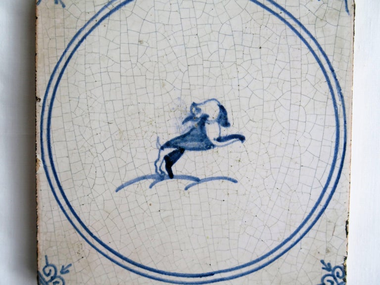 Hand-Painted Three 18th Century Delft Blue and White Ceramic Wall Tiles, Dog Patterns For Sale