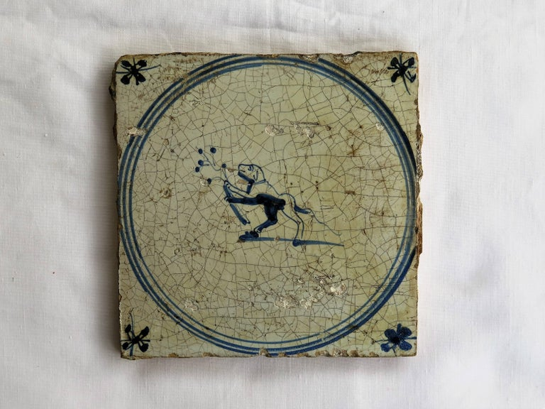 Three 18th Century Delft Blue and White Ceramic Wall Tiles, Dog Patterns In Fair Condition For Sale In Lincoln, Lincolnshire
