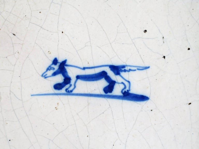 Three 18th Century Delft Blue and White Ceramic Wall Tiles, Dog Patterns For Sale 2
