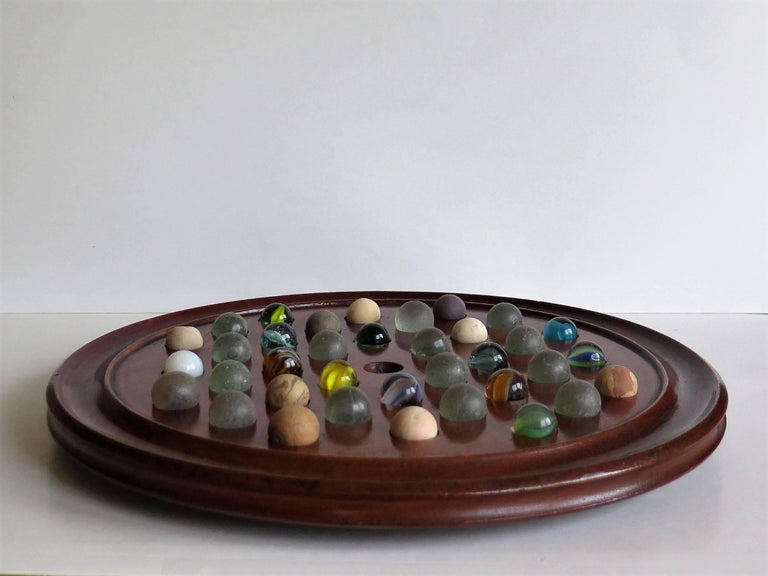 Large 19th Century Table Marble Solitaire Board Game With