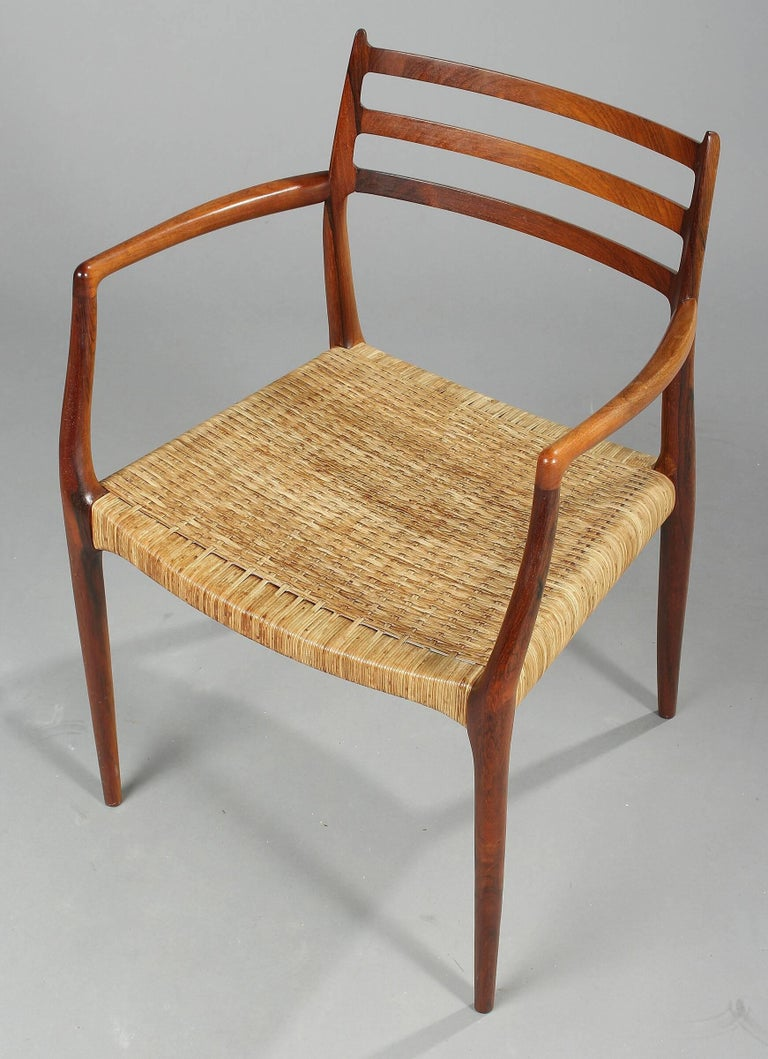 Mid-Century Modern Niels Otto Moller 1962 Rosewood Carver with Leather Cord For Sale