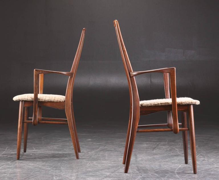 of niels koefoed rosewood dining chairs with arms for sale at 1stdibs