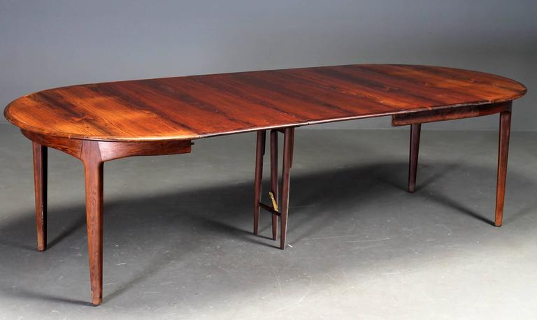 Danish Rosewood Dining Table by Henning Kjaernulf For Sale 1