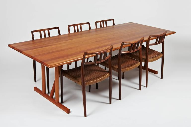 Beau Danish Solid Cherrywood Dining Table With Two Extension Leaves