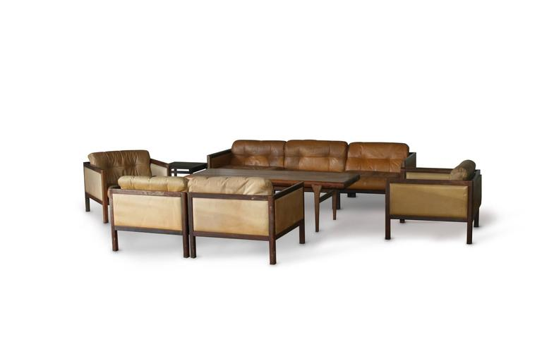 Scandinavian Modern Illum Wikkelso Prototype Sofa Suite Made of Rosewood, circa 1968 For Sale