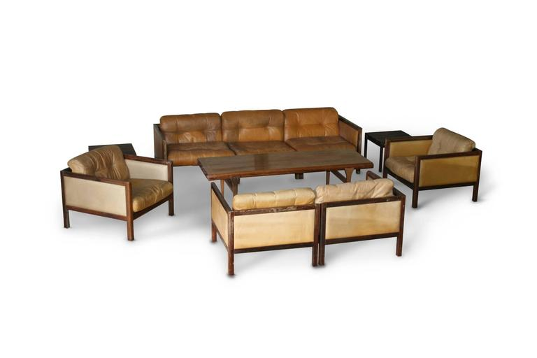 Danish Illum Wikkelso Prototype Sofa Suite Made of Rosewood, circa 1968 For Sale