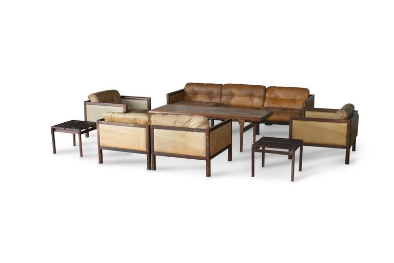 Illum Wikkelso Prototype Sofa Suite Made of Rosewood, circa 1968 6