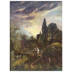 """Church Yard at Dusk"" Victorian Oil Painting"