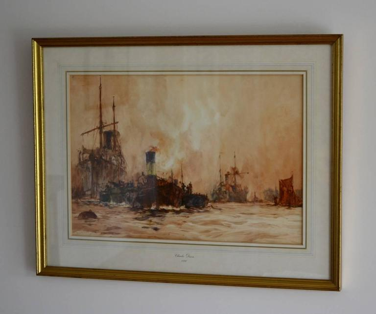 English Shipping on the River Thames, London by Charles Dixon For Sale