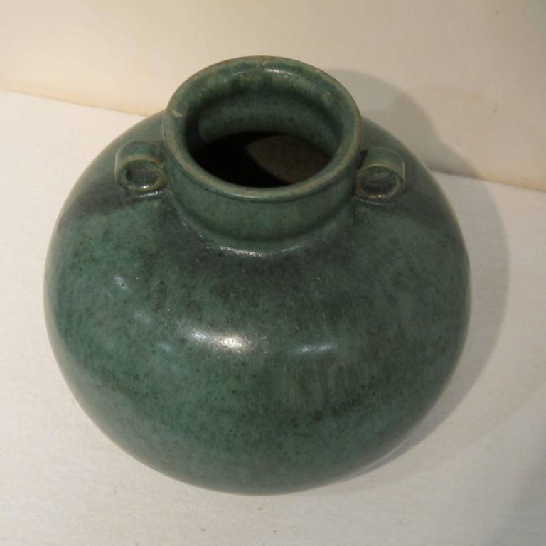 Green Glazed Vase by Arne Bang, 1940s In Excellent Condition For Sale In Amstelveen, NL