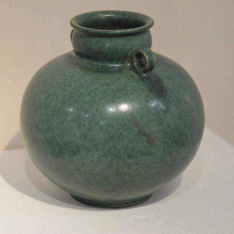 Mid-Century Modern Green Glazed Vase by Arne Bang, 1940s For Sale