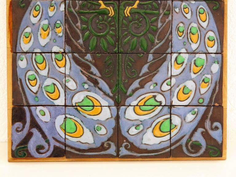 Art Nouveau Carduus Tile Plateau With Peacocks For De