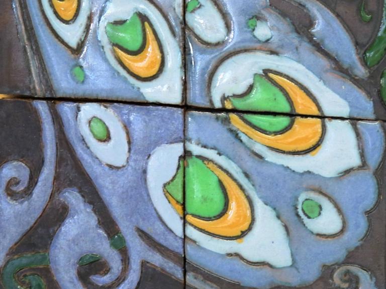 Art Nouveau Carduus Tile Plateau With Peacocks For De