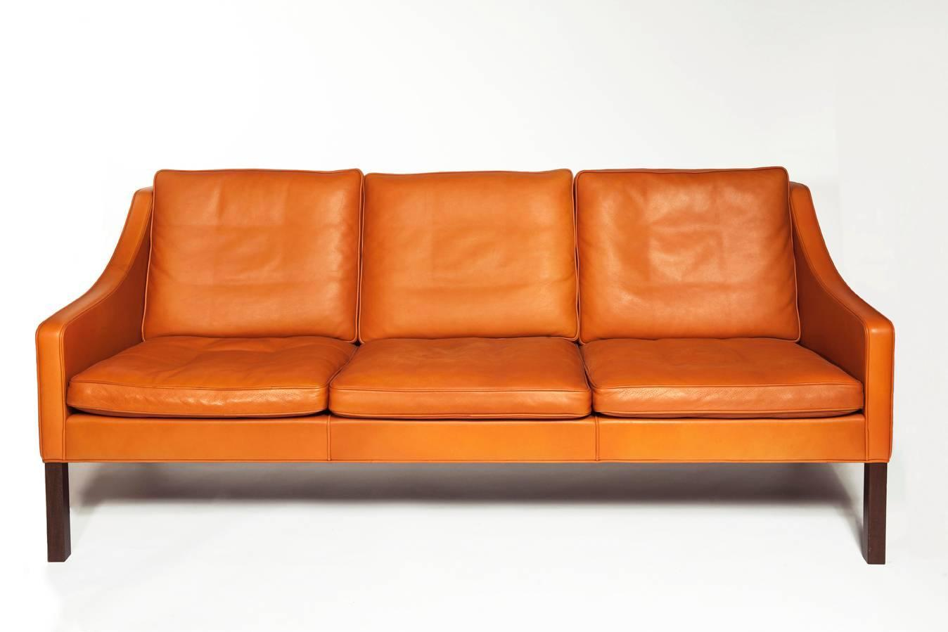 B Rge Mogensen Orange Leather Three Seat Sofa 1960s For