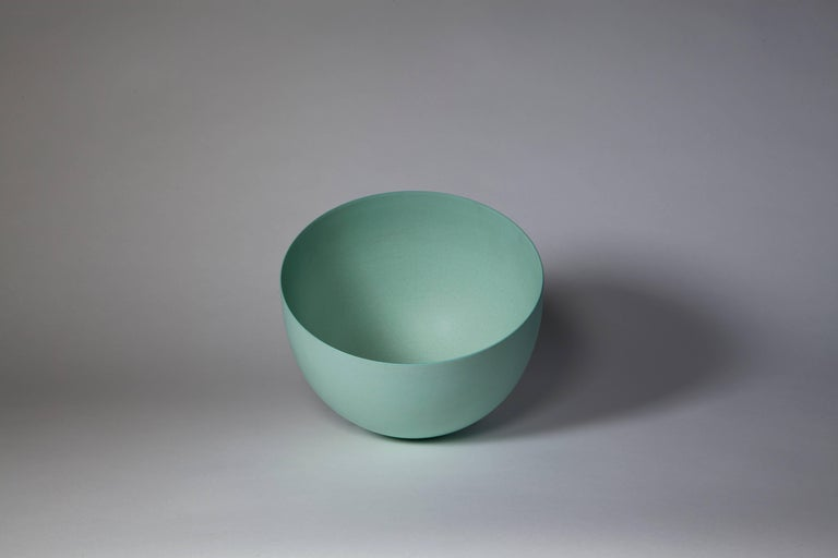 Minimalist Light Green Bowl, Stoneware with Terra Sigilata Glaze, One-Off by Geert Lap For Sale