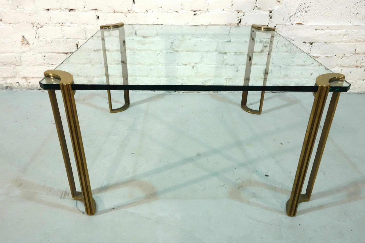Square Bronze And Glass Coffee Table For Sale At 1stdibs