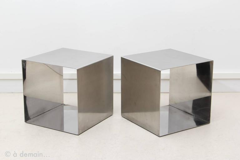 Attractive Rare Pair of Cube Coffee Tables Designed by Maria Pergay in 1968  CD46
