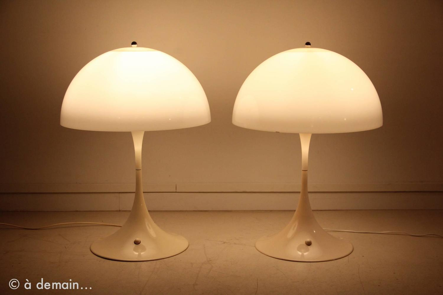 pair of panthella table lamps by verner panton ed louis. Black Bedroom Furniture Sets. Home Design Ideas