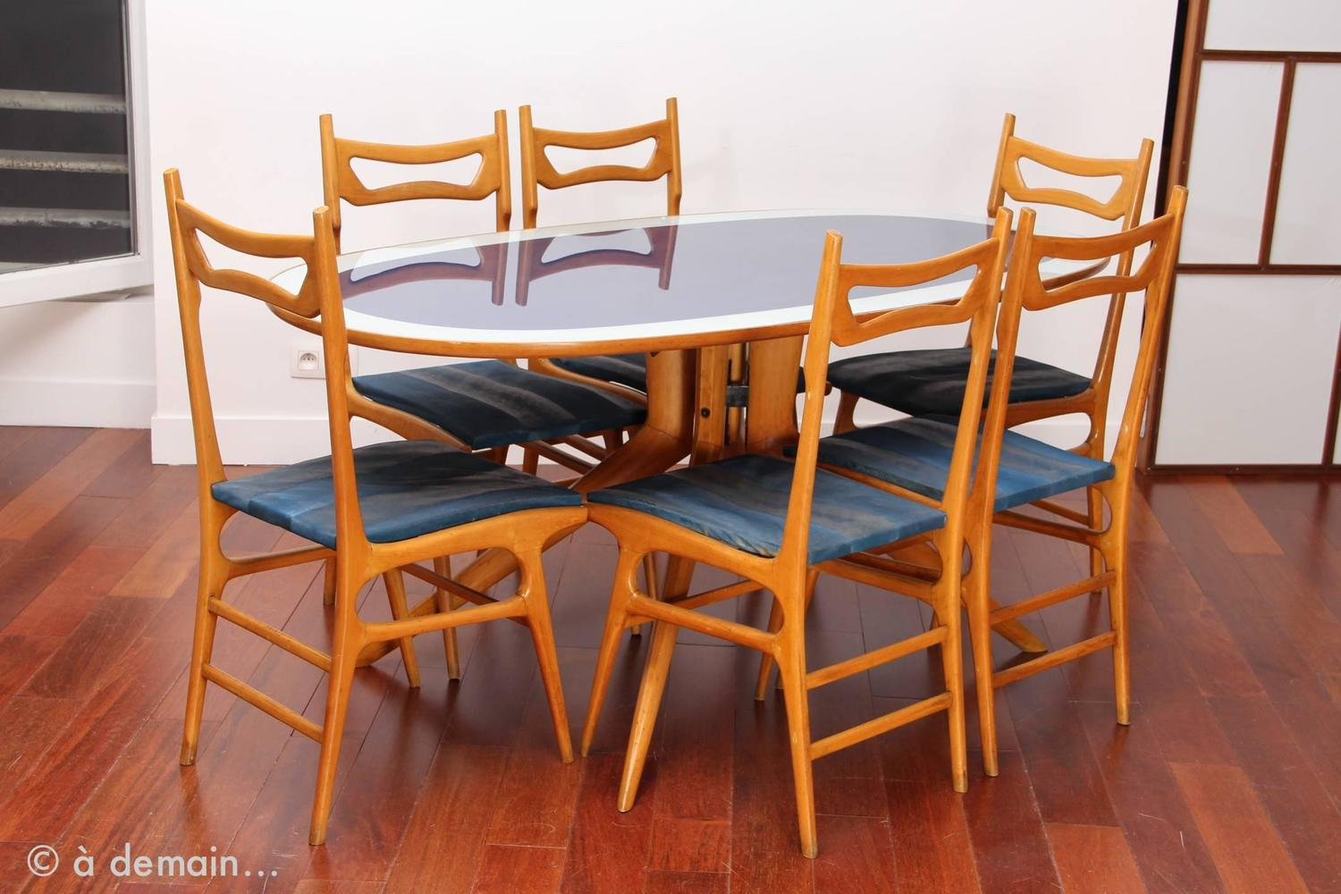 rare modernist italian dining room set in the style of ico parisi from