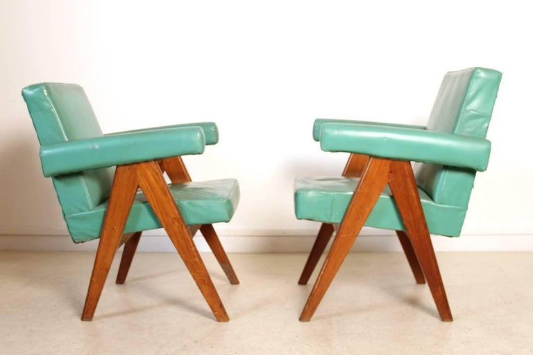 Mid-Century Modern Set of Two Committee Chair by Pierre Jeanneret, Chandigarh, circa 1953 For Sale