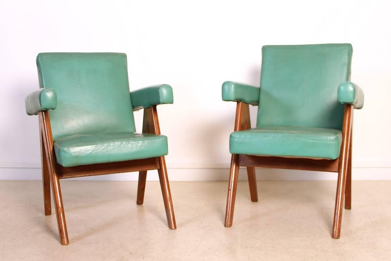 Indian Set of Two Committee Chair by Pierre Jeanneret, Chandigarh, circa 1953 For Sale
