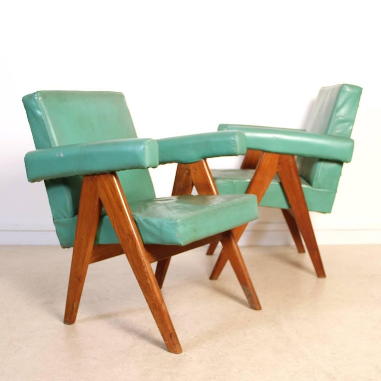 Mid-20th Century Set of Two Committee Chair by Pierre Jeanneret, Chandigarh, circa 1953 For Sale