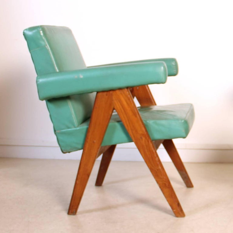 Set of Two Committee Chair by Pierre Jeanneret, Chandigarh, circa 1953 In Good Condition For Sale In Paris, FR