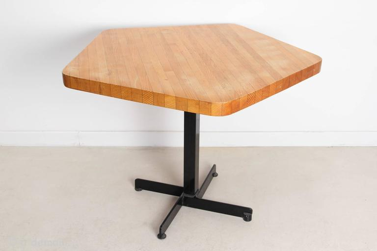 charlotte perriand pentagonal dining table from the 1960s at 1stdibs. Black Bedroom Furniture Sets. Home Design Ideas