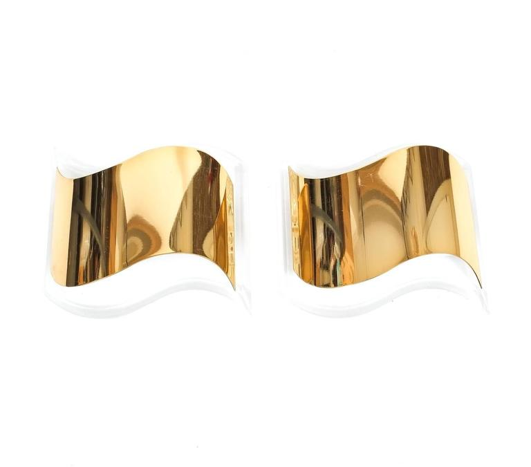 Hollywood Regency Pair of Jewel-Like Sconces from Lucite and Gilt Brass For Sale