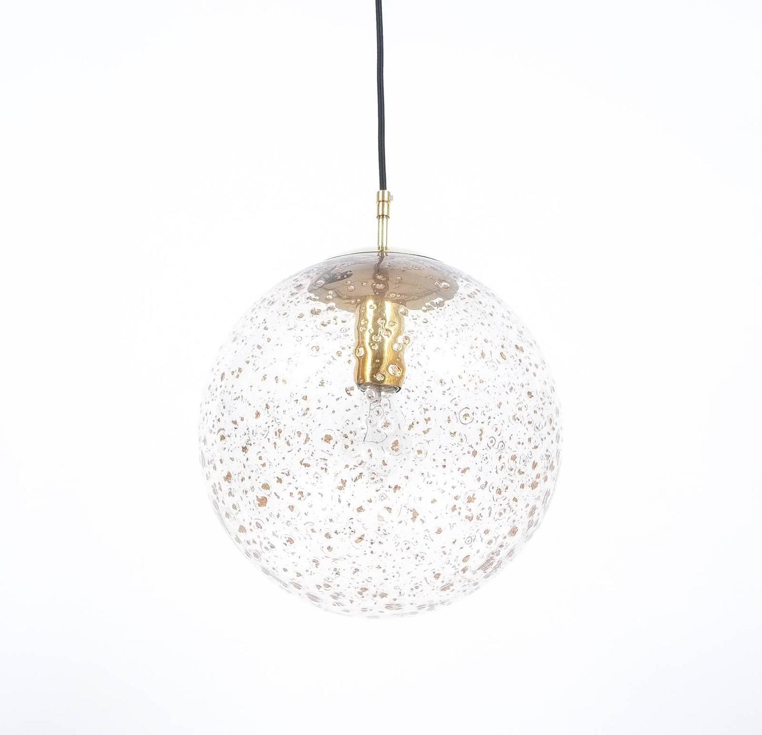 pair of limburg brass and glass ball pendants for sale at 1stdibs