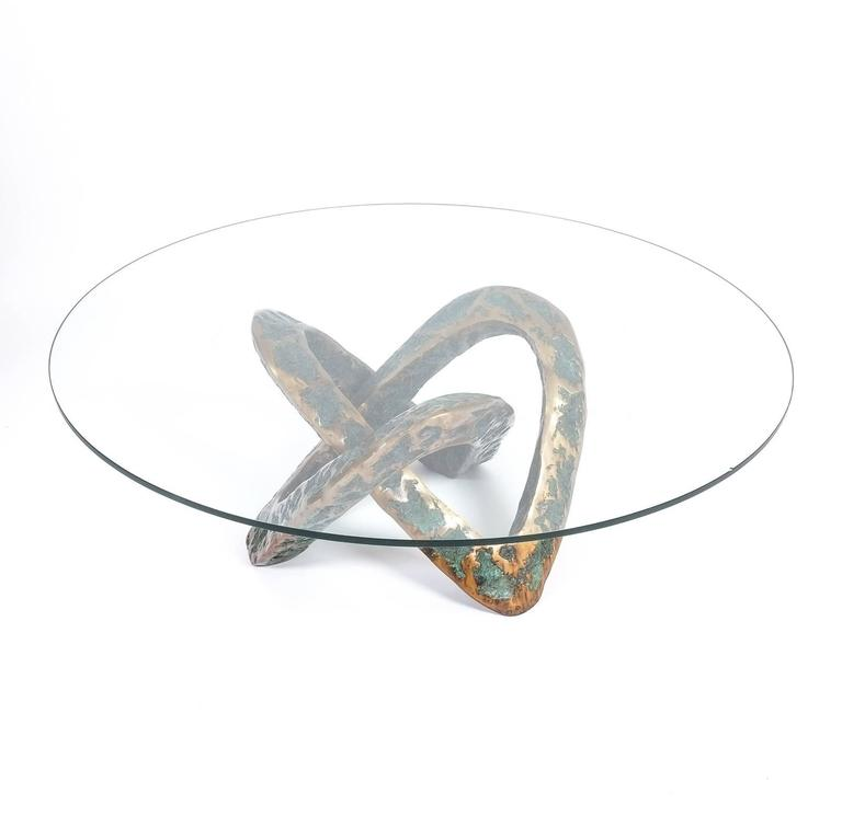 Sculptural Brutalist Mobius Bronze Table, circa 1955 7