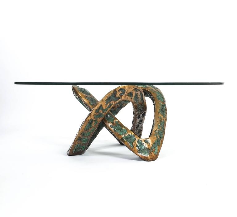 Sculptural Brutalist Mobius Bronze Table, circa 1955 2